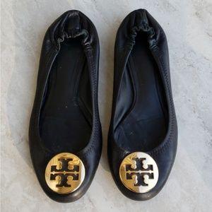 Tory Burch REVA black leather gold ballet flats 8M